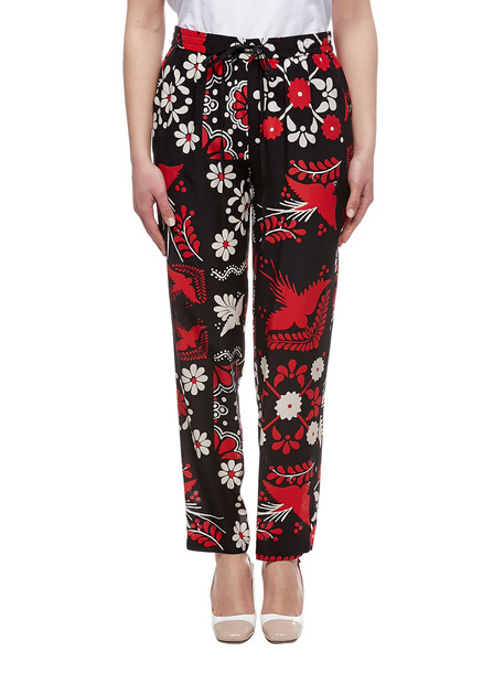 Red Valentino Printed Trousers in nero