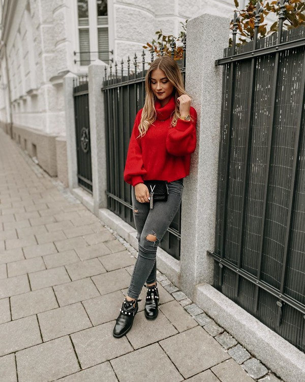 sweater turtleneck sweater red sweater ankle boots black boots skinny jeans ripped jeans black bag