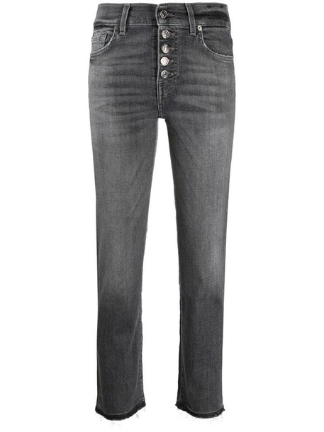 7 For All Mankind cropped slim-fit jeans in grey