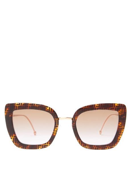 Fendi - Ff-logo Cat-eye Acetate And Metal Sunglasses - Womens - Tortoiseshell