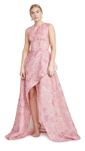 Costarellos Sleeveless Printed Organza Tulip Dress in pink
