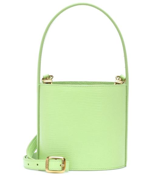 Staud Bissett leather bucket bag in green