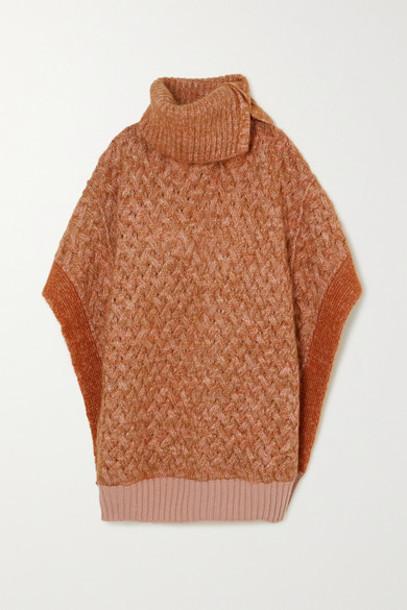 poncho wool knit beige