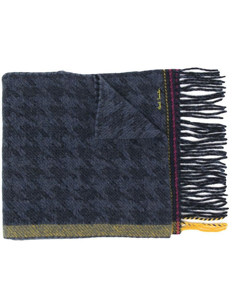 Paul Smith houndstooth check wool scarf in blue