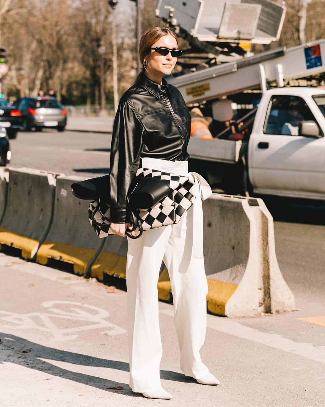 pants white pants high waisted pants loewe white boots maxi bag black jacket leather jacket