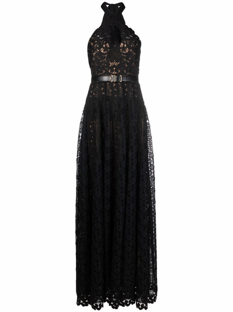 Elie Saab long macramé dress - Black