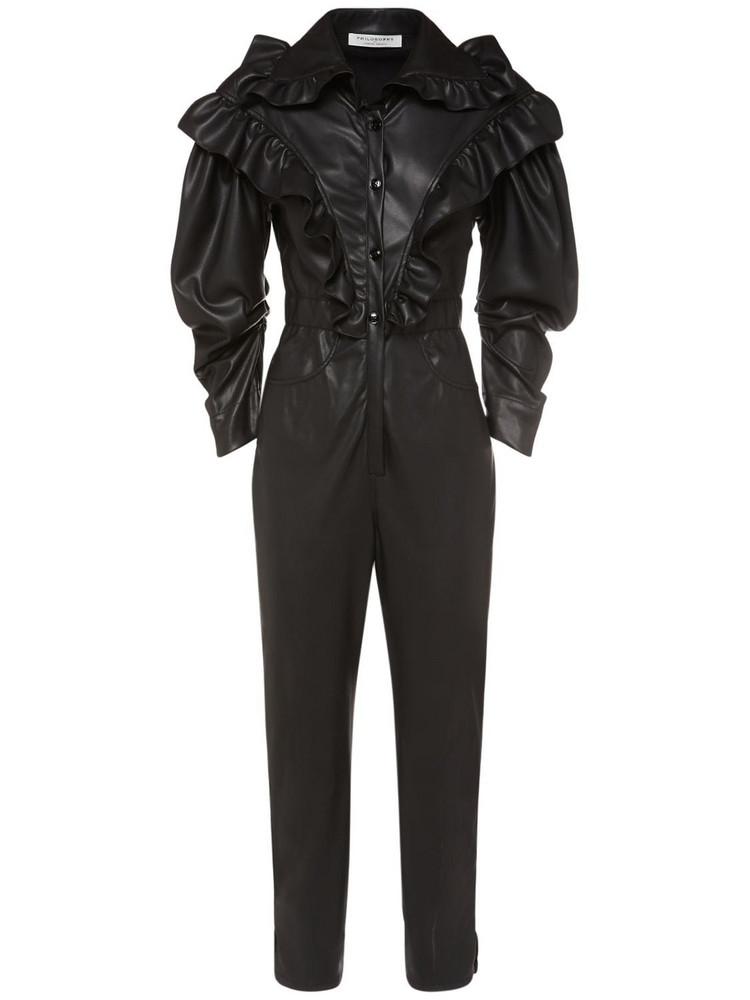 PHILOSOPHY DI LORENZO SERAFINI Faux Leather Ruffled Jumpsuit in black