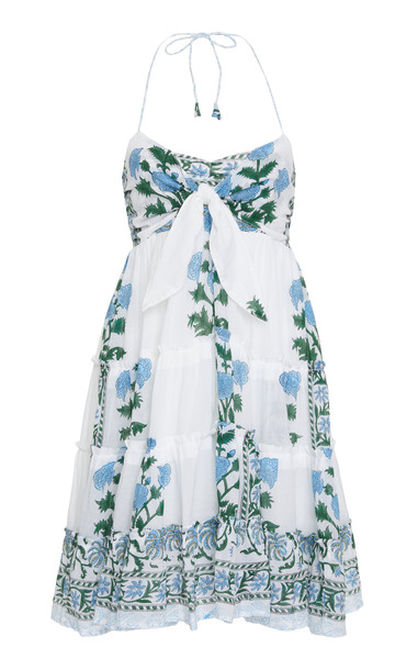 Juliet Dunn Tie-Front Printed Cotton-Voile Halterneck Dress Size: 2