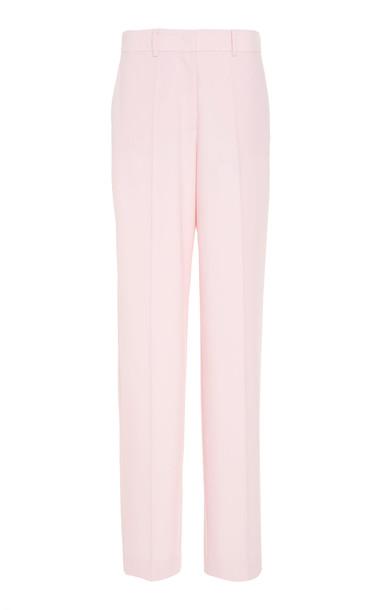 DELPOZO Wool Straight-Leg Pants Size: 36 in pink