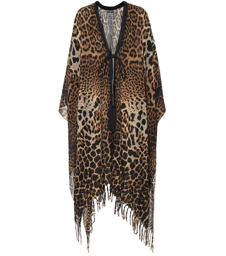 Saint Laurent Leopard-print silk kaftan in brown