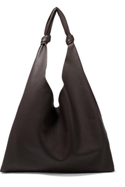 The Row - Bindle Textured-leather Shoulder Bag - Dark brown