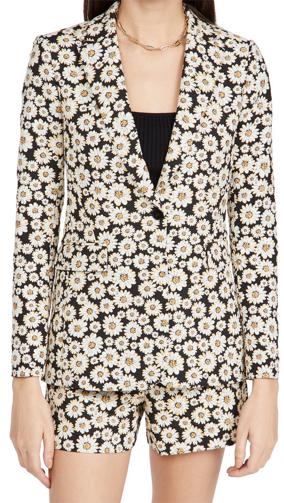 alice + olivia alice + olivia Macey Notch Collar Fitted Blazer in black / multi
