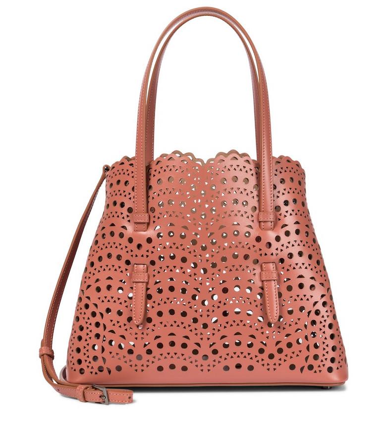 Alaïa Mina 25 Small leather tote in brown