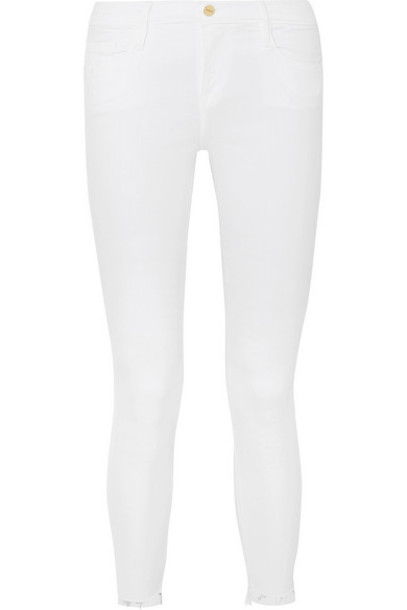 FRAME - Le Skinny De Jeanne Raw Stagger Mid-rise Jeans - White