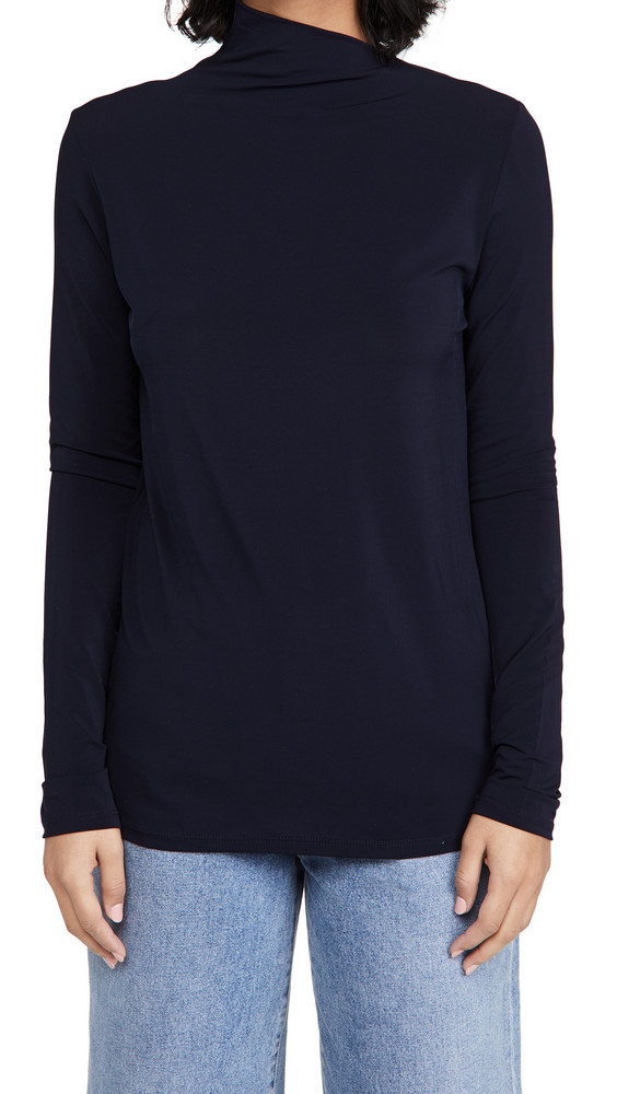 GOLDSIGN The Asymmetric Mock Neck Top in navy