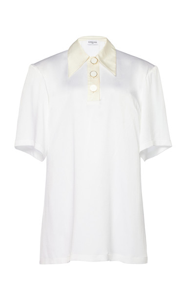 Rowen Rose Button-Detailed Crepe Top Size: 34 in white