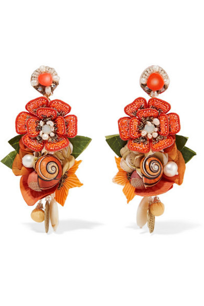 Ranjana Khan - Helios Gold-tone And Silk Multi-stone Clip Earrings - Orange