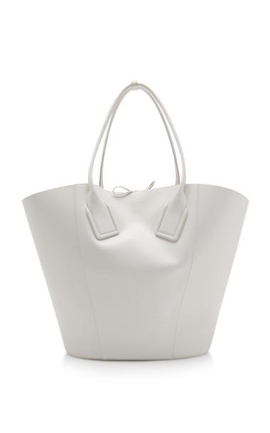 Bottega Veneta Large Leather Basket Tote in white
