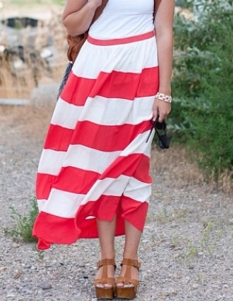 skirt cars loren red stripes high waisted maxi skirt