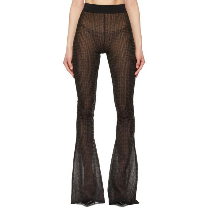Balmain Black Jacquard Monogram Flared Lounge Pants in noir