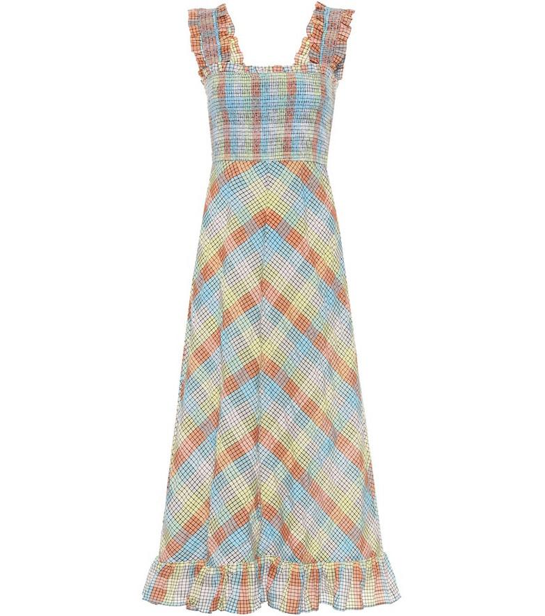 Ganni Seersucker cotton-blend dress