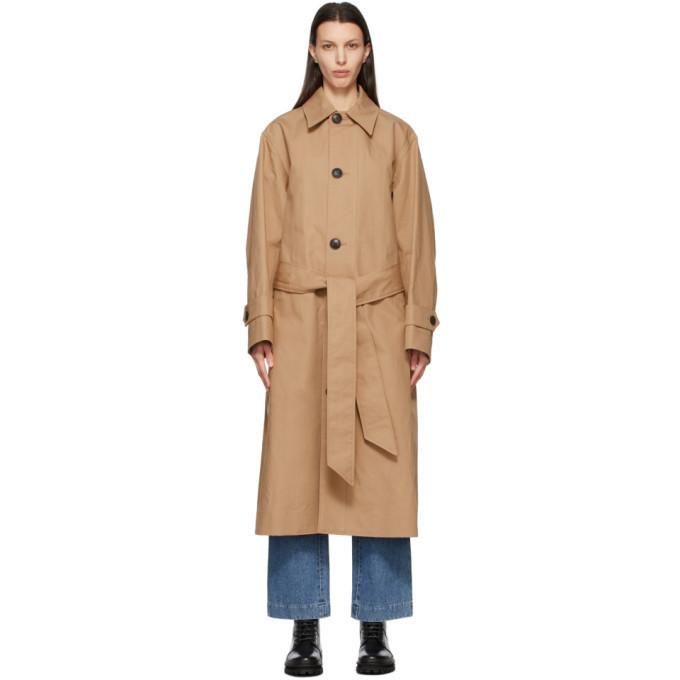 AMI Alexandre Mattiussi Tan Oversize Mac Coat in beige