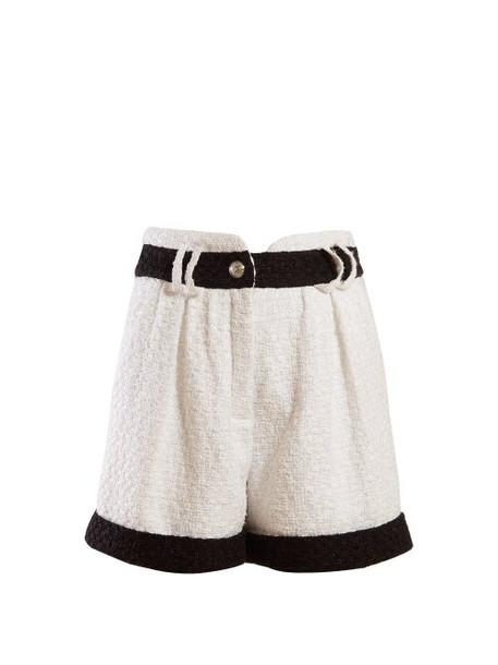Balmain - High Waisted Tweed Shorts - Womens - White Black