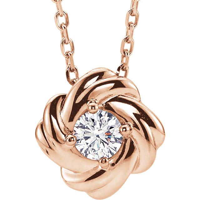 14K Rose 1/6 CTW Diamond Knot 16-18-86655:607:P