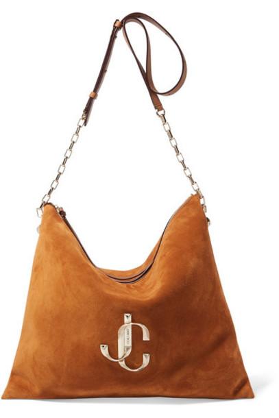 Jimmy Choo - Varenne Leather-trimmed Suede Shoulder Bag - Brown