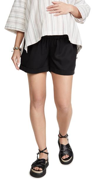 Ingrid & Isabel Elastic Waist Maternity Shorts in black