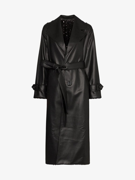 Anouki reversible sequinned trench coat in black