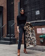 top,black turtleneck top,high waisted jeans,black jeans,straight jeans,brown boots,heel boots,leopard print,faux fur coat