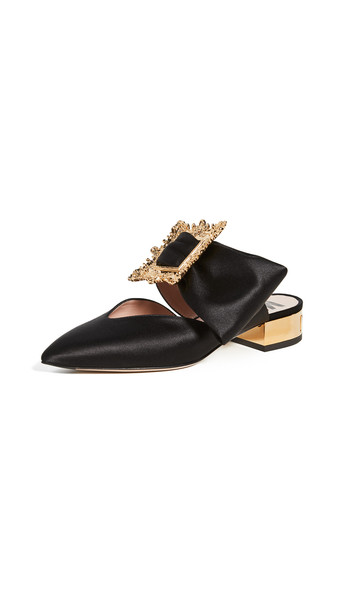 Moschino Pointed-Toe Broach Mules in black