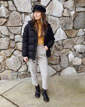top,turtleneck,black boots,ankle boots,lace up boots,high waisted pants,black jacket,puffer jacket,beret