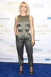 top,pants,julianne hough,celebrity,two-piece,metallic,silver
