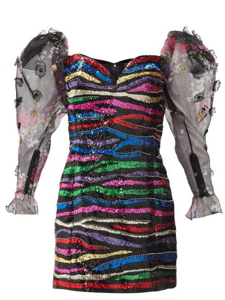 Dundas - Sequinned Off-the-shoulder Silk Mini Dress - Womens - Black