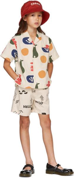 Jellymallow Kids Beige Painting Big Pocket Short Sleeve Shirt in cream