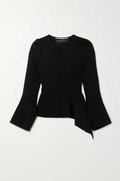 Roland Mouret - Noto Asymmetric Wool-crepe Jacket - Black