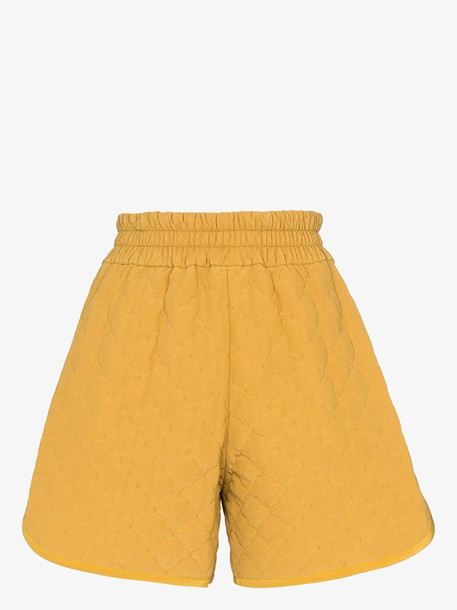 Fendi diamond quilted shorts in yellow