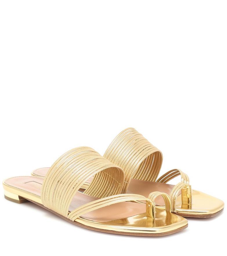 Aquazzura Sunny metallic leather sandals in gold