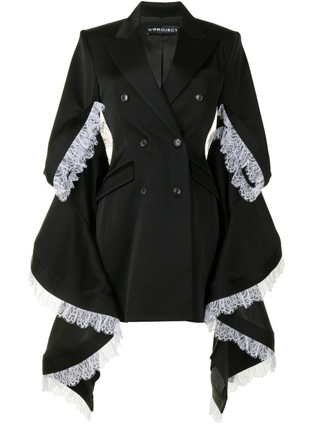 Y/Project oversized-sleeve double breasted coat in black