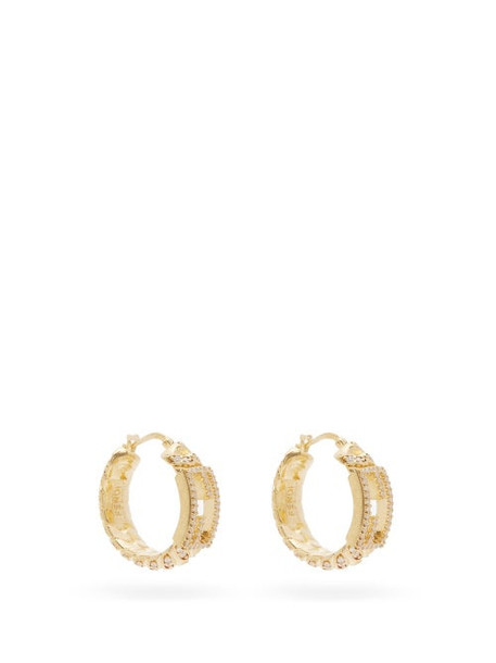 Fendi - F-logo Crystal Hoop Earrings - Womens - Gold