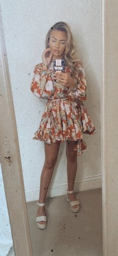 dress,pattern,red,white,orange,floral,floral dress,floaty dress,summer,summer dress,blonde hair