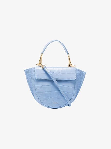 Wandler sky blue Hortensia mini croc print leather shoulder bag
