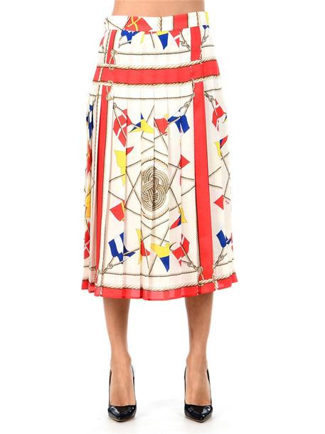 Msgm Pleated Midi Skirt in white