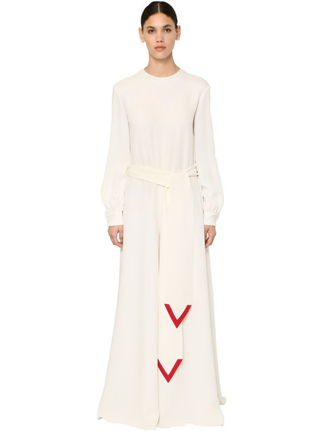 VALENTINO Long Couture Silk Cady Jumpsuit in ivory