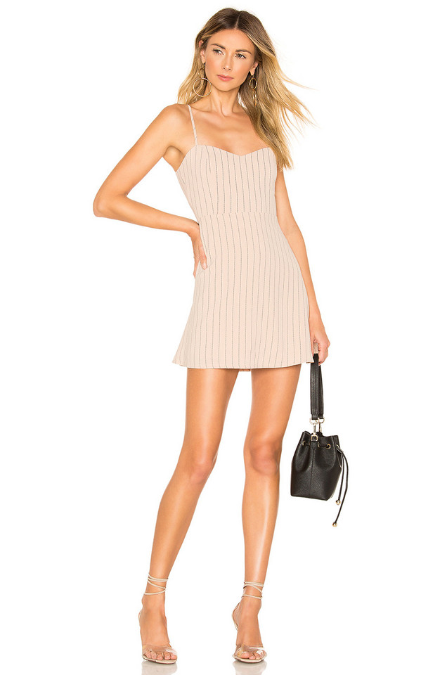 About Us Violet Sweetheart Mini Dress in tan