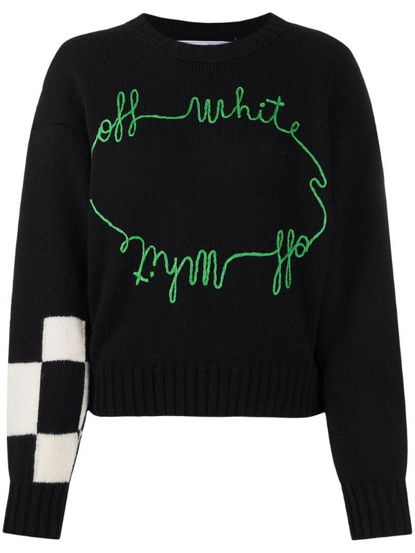Off-White checker embroidered jumper in black