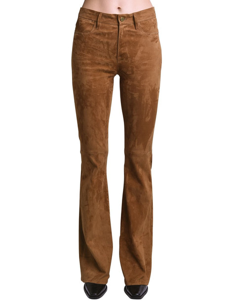 FRAME Le High Flared Suede Pants in camel