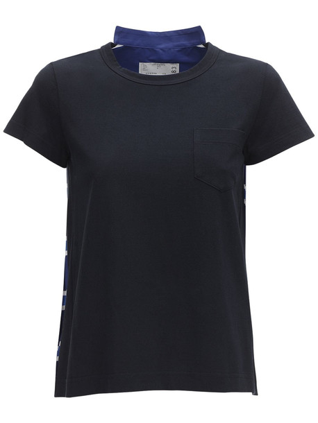 SACAI Cotton Blend T-shirt W/ Pleats in navy